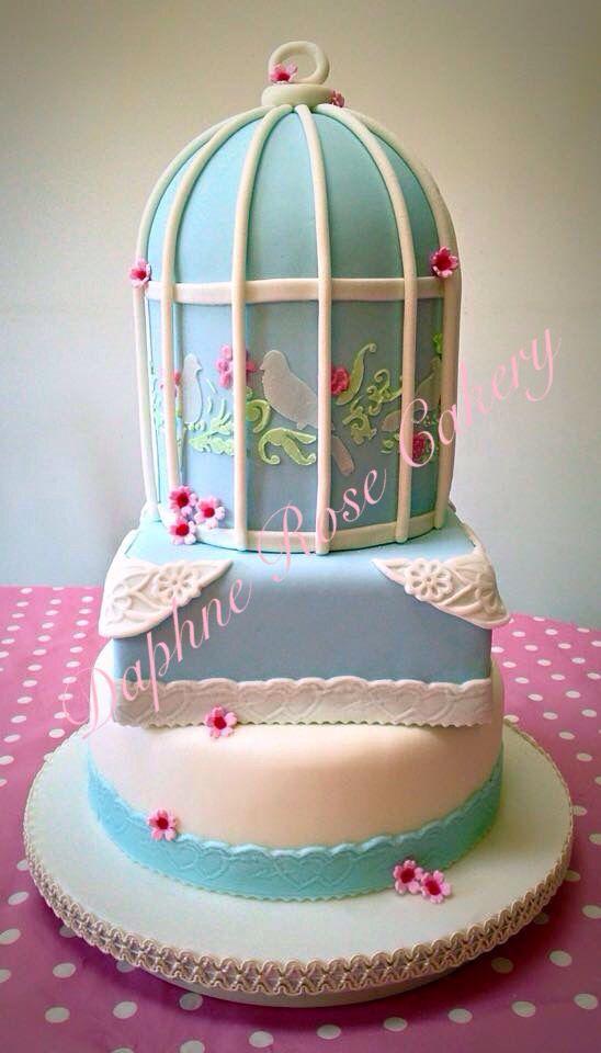 #birdcage #duckegg #blue #lace #vintage #weddingcake email enquiry drcakery@gmail.com