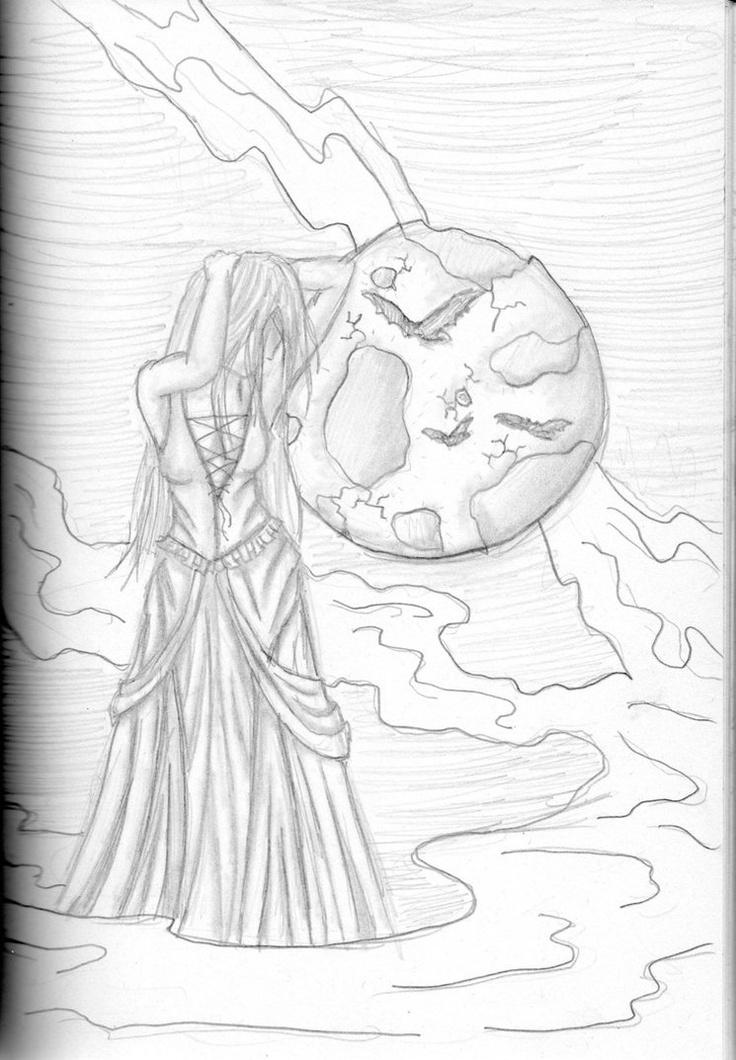 Full Moon - DrawingFull Moon, Pencil Drawing