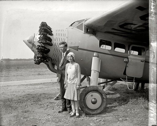 "September 18, 1929. ""Mr. & Mrs. Lindbergh."" Aviator Charles Lindbergh and Anne Morrow Lindbergh, four months after they married, at Bolling Field en route to South America. Charles, the pioneering aviator, was probably the most famous person in America at the time; Anne would become an accomplished aviator in her own right, as well as one of the best-selling writers of the 20th century."