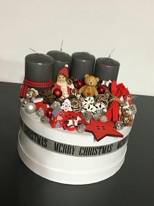 Téli mese   / advent   karácsony  koszorú  gyertya  egyedi  saját készítésű  ünnep  angyal  toboz  maci /