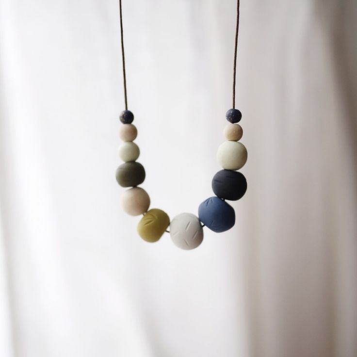 Open Water needibeads polymer clay necklace