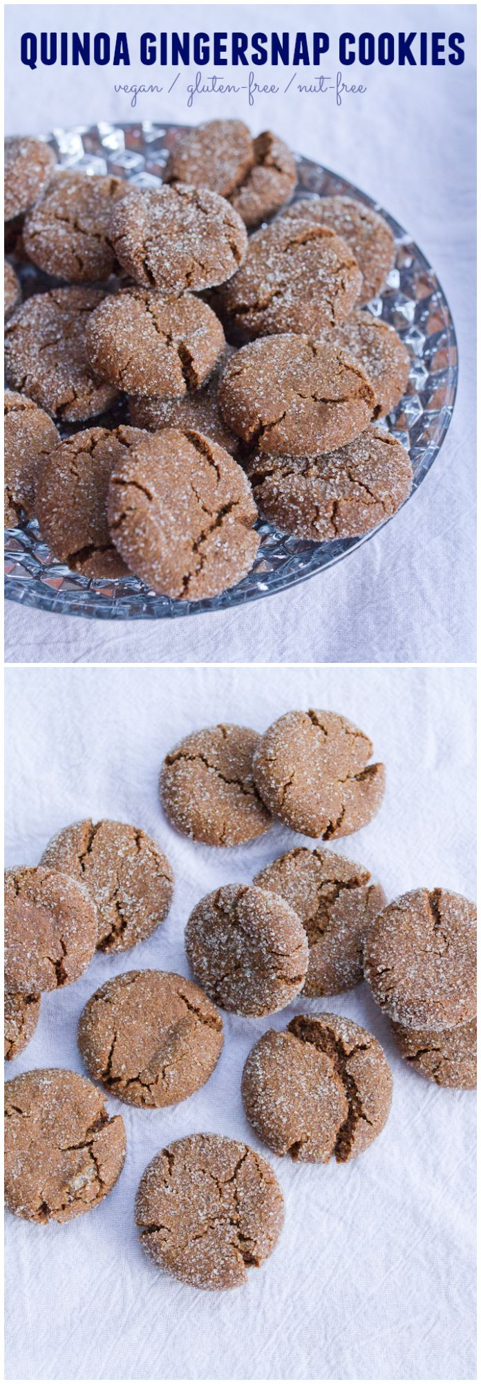 Quinoa Gingersnap Cookies // They're crunchy on the outside, chewy on the inside and taste heavenly. Everyone loves these cookies.