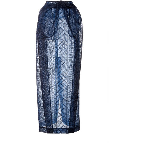Zac Posen Guipure Lace Pencil Skirt (30 265 SEK) ❤ liked on Polyvore featuring skirts, blue lace skirt, calf length pencil skirt, blue pencil skirt, pencil skirt and high waisted skirts