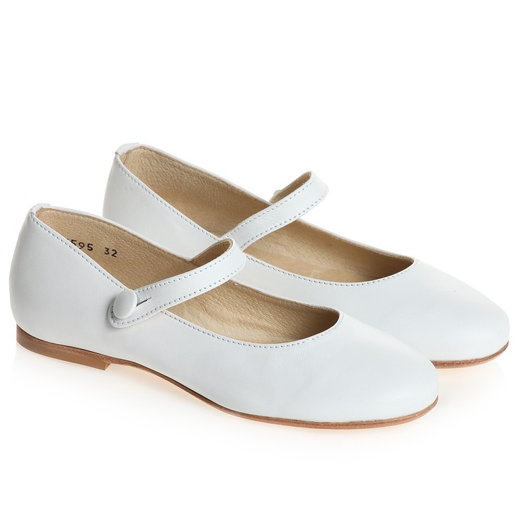 Girls White Leather Bar Shoes - Communion - Girl | Childrensalon