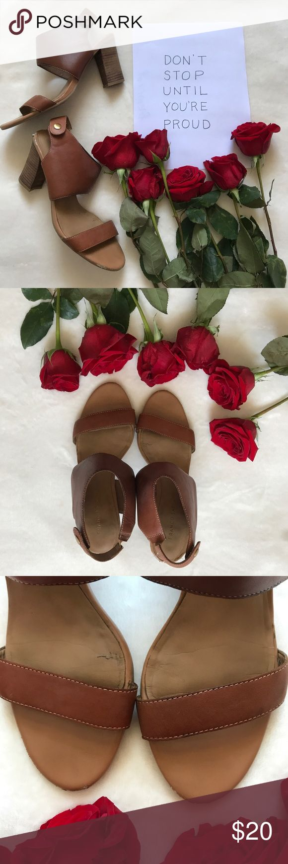 Franco Sarto sandals 🌺 Franco Sarto tan/brown heeled sandals. Leather upper, balance man made. Used, see pictures for some marks&scuffs - which is reflected in the price 😊 Still a lot of life left in these and they're perfect for the summer with dresses or white jeans! Franco Sarto Shoes Sandals