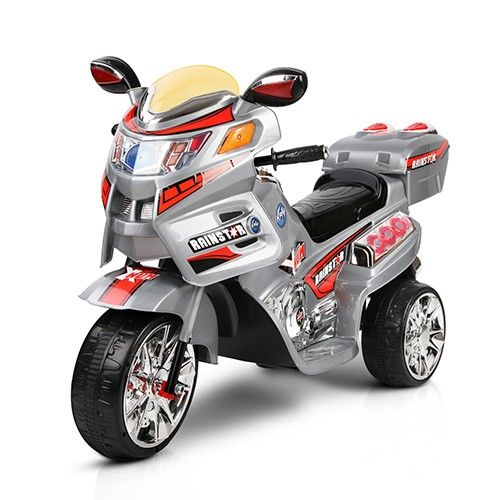 Kids Ride on Patrol Motorbike Electric w/ Twin Motor MP3 Silver