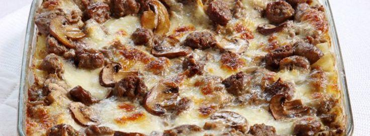 Lasagne met champignons, Italiaanse worstjes en mozzarella