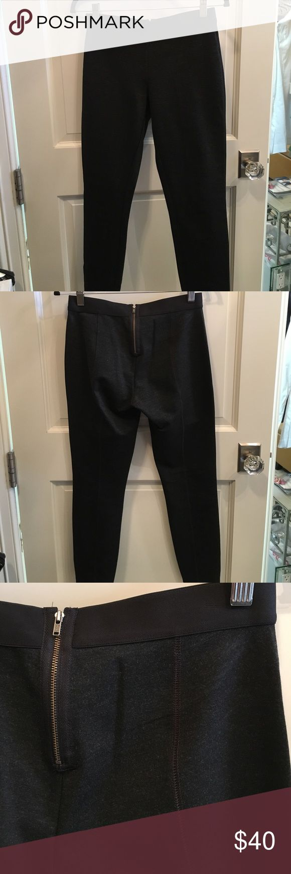J Crew zip back legging pants Charcoal grey J Crew zipper back legging pants. Seams up the back. Elastic sewn in waistband. Size 4 pretty snug fit. Inseam 27 inches. Only worn a couple times. No snags or pills, like new. No trades. Leg opening 5 inches J. Crew Pants Leggings