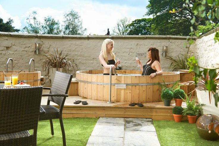 Our outside hot tub is perfect for these sunny days!