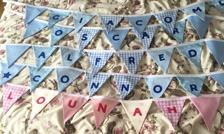 Handmade bunting Personalised Baby gift