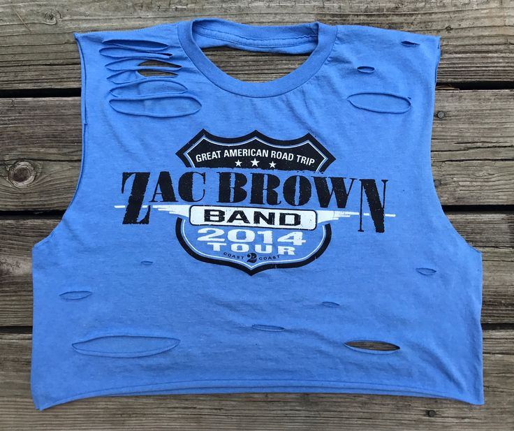 Zac Brown Band Great 2014 American Road Trip Concert Tour Light Blue Rebel Fray Custom Distressed Cropped Tank Top Shirt XL by RebelFray on Etsy