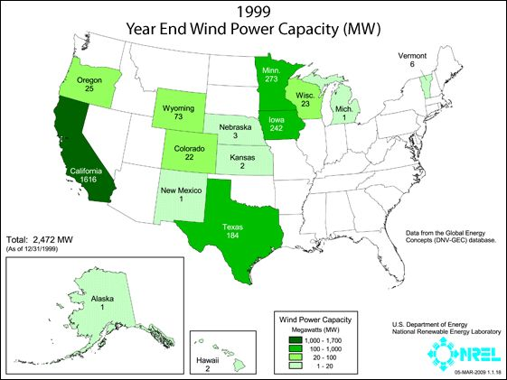 Map Of Us Wind Power Capacity 1999 2011