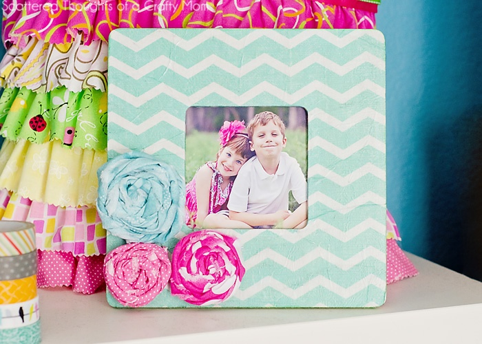 Printed tissue decoupaged frame - so cute! Great gift idea!