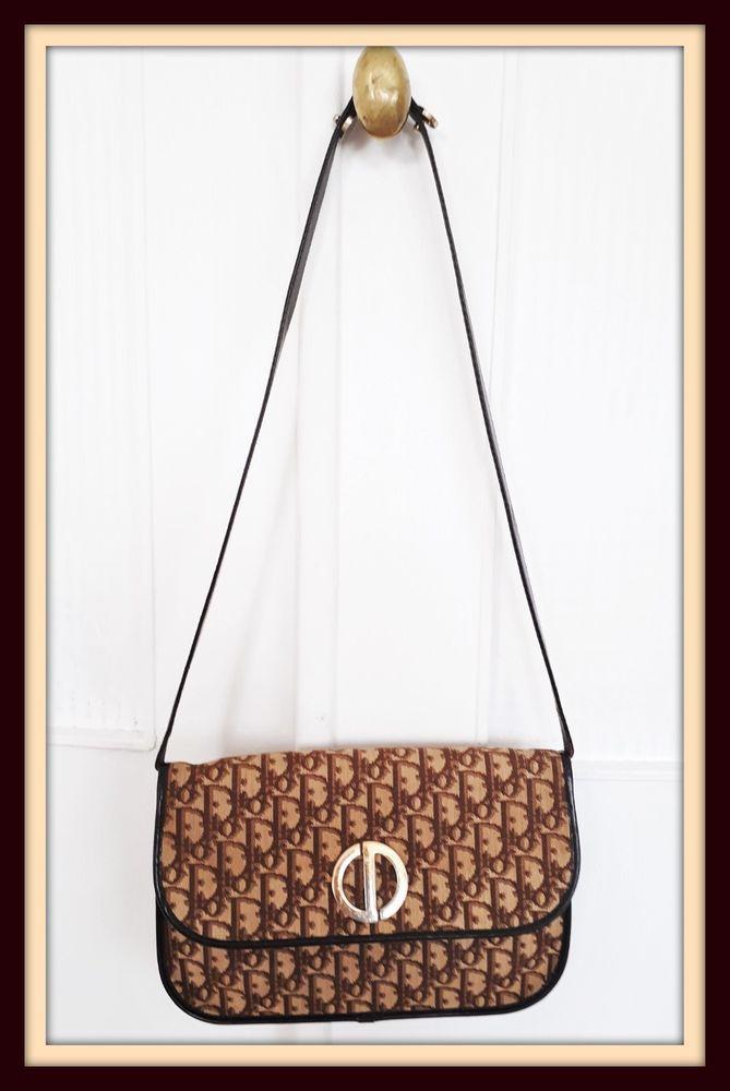1eddf9b1aa Dior - Sac à main porté épaule cuir et monogramme DIOR -1ère Edition  Vintage #