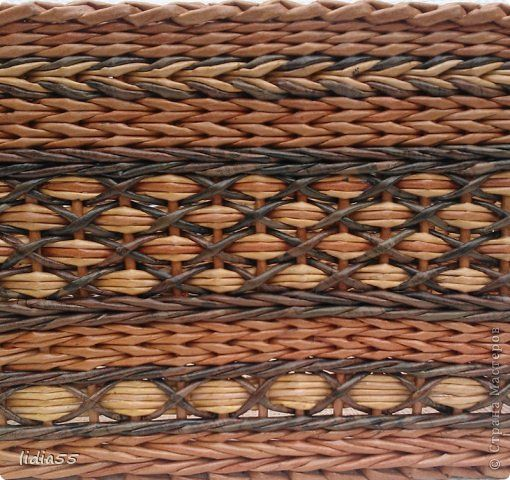 Декор предметов Поделка изделие Плетение Роспись плетенки и точки Краска Трубочки бумажные фото 6