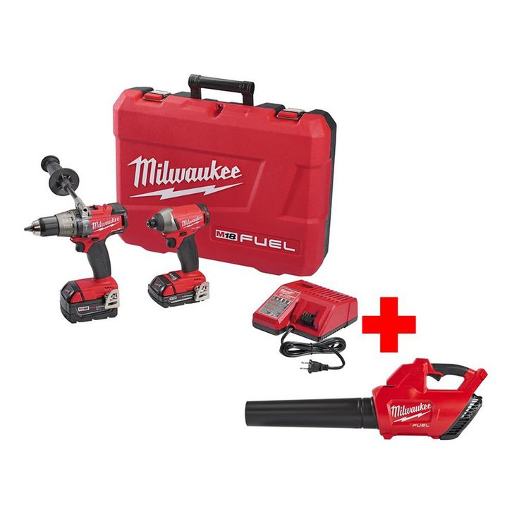 Milwaukee M18 Fuel 18-Volt Lithium-Ion Cordless Brushless Hammer Drill/Impact Driver Combo Kit with M18 Fuel Blower Bare Tool