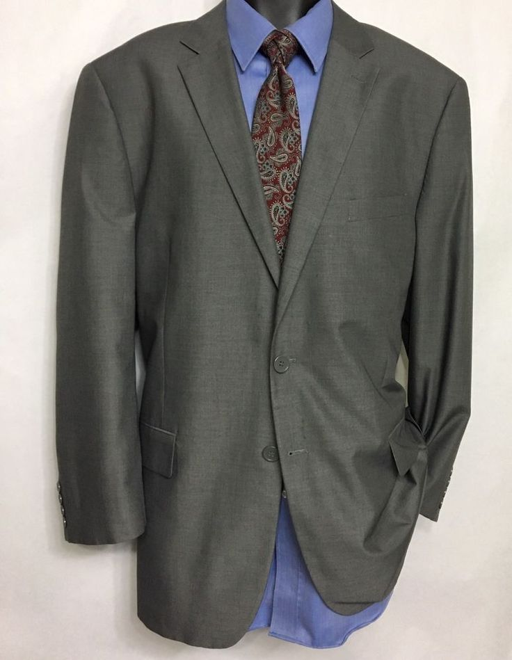 JOSEPH & FEISS Mens Gray Suit Jacket Size 46R  | 100% Wool 2 Button Sport Coat #JosephFeiss #TwoButton