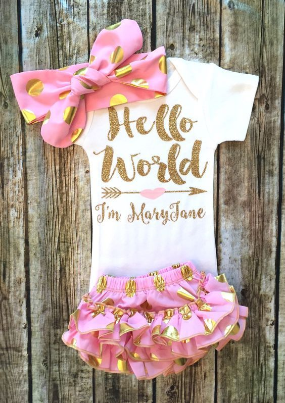 Hello World Gold and Baby Pink Personalized Baby Girl Onesie - BellaPiccoli