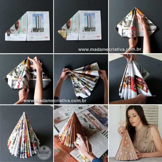 Using unwanted magazines! You can also cut these in half to do smaller, book-size trees