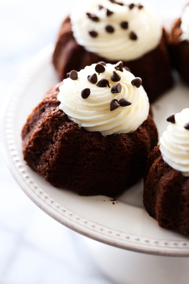 Mini Chocolate Bundt Cakes... These are an extremely moist chocolate cake with a delicious cream cheese frosting on top. It makes for an easy and tasty personal size treat! |  Chef In Training