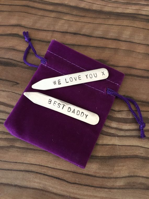 Personalised 925 silver shirt collar stiffeners by JewellerybyNicl