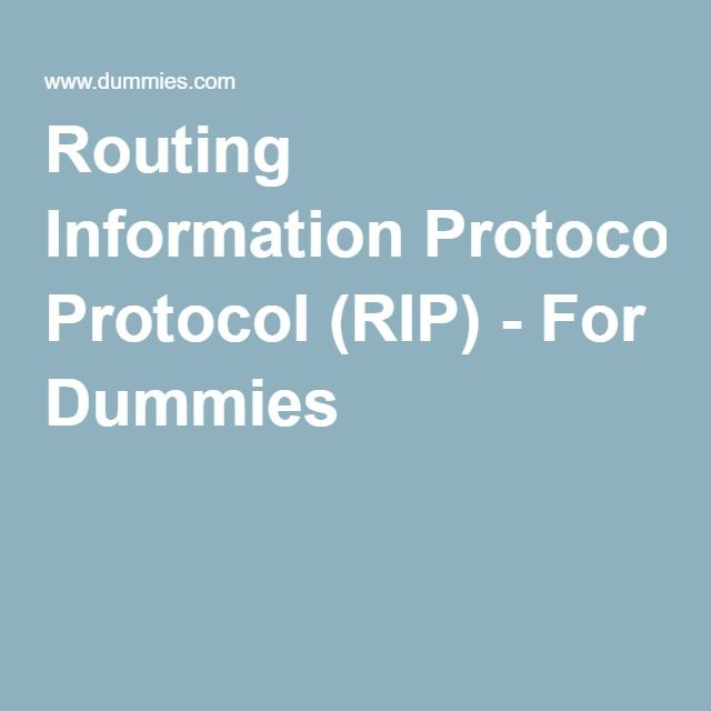 Routing Information Protocol (RIP) - For Dummies