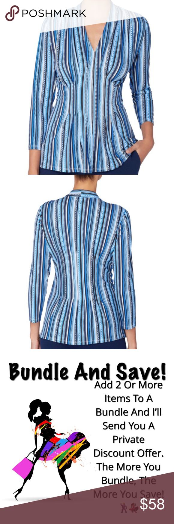 "Beautiful Slimming Top (Nordstrom) NWT This beautiful striped v-neck top has release pleats nipping in the middle creating a wonderful slimming effect. Comfortable matte jersey material. 25"" length size L Tops"