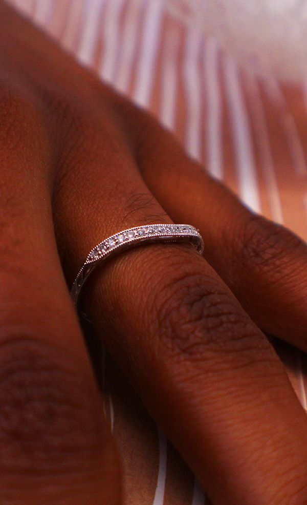 This wedding ring steals the show without being center stage, simple yet elegant, could be used as a second band too, jewelry, diamonds