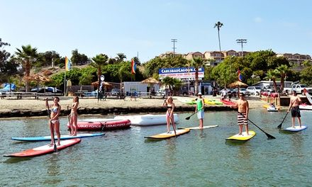 Kayaks, peddle boat, canoes, standup paddleboards, and aqua cycles ferry patrons over tranquil waters at a private beach