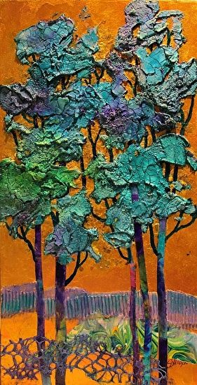 Blue Trees   14033 by Carol Nelson mixed media ~ 16 x 8