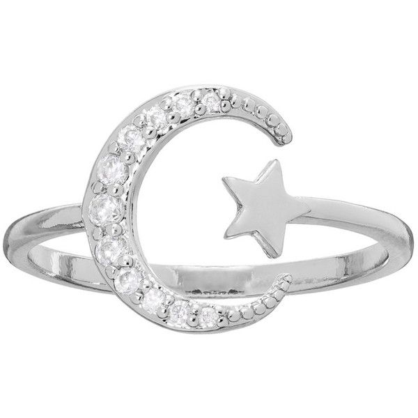LC Lauren Conrad Runway Collection Cubic Zirconia Star & Crescent Moon... ($13) ❤ liked on Polyvore featuring jewelry, rings, silver, star ring, silvertone jewelry, star jewelry, nickel free rings and cubic zirconia jewelry