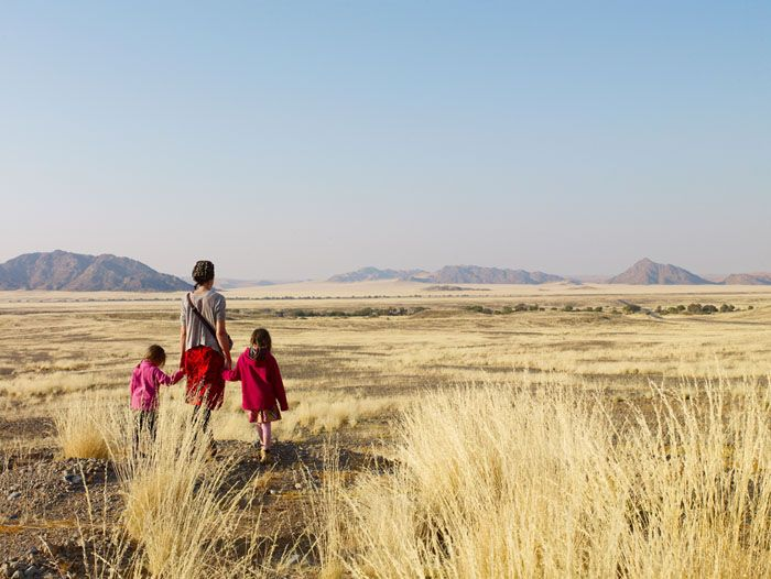 kids on safari in Namibia