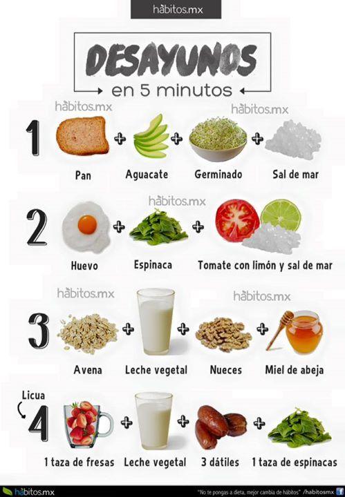 Desayunos saludables en 5 minutos de http://www.habitos.mx/                                                                                                                                                      Más #desayunosaludable