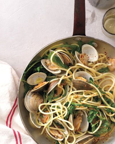 5 Pasta Recipes Worth Every Carb - SPAGHETTI with CLAMS, ARUGULA, and BASIL from #InStyle