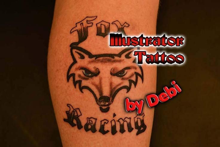 Custom Fox Racing tattoo at the Illustrator Tattoo in Dallas Ga.