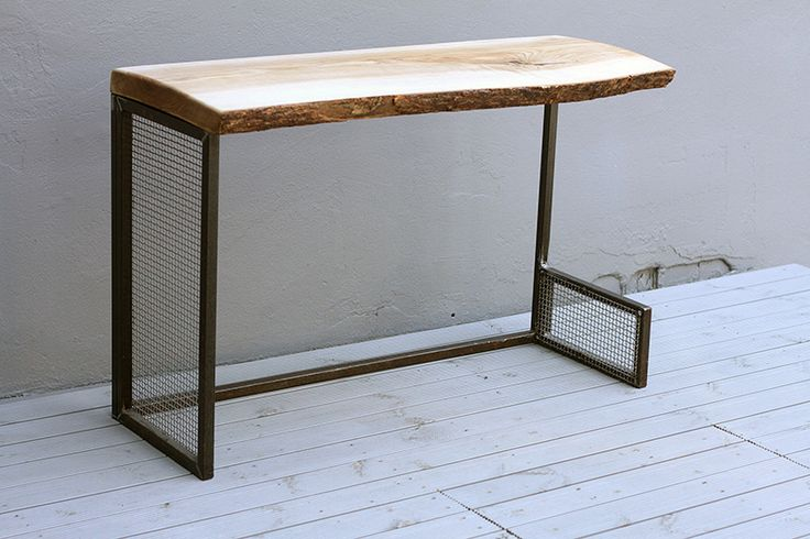 Natural wood and Steel Table