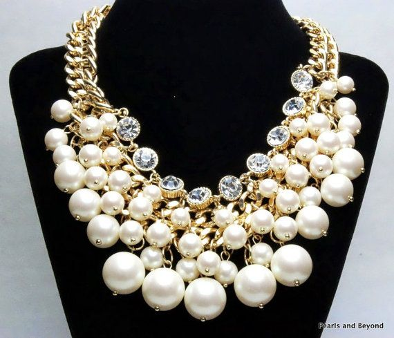 Chunky Pearl Necklace Cluster Pearl Necklace by PearlsandBeyond