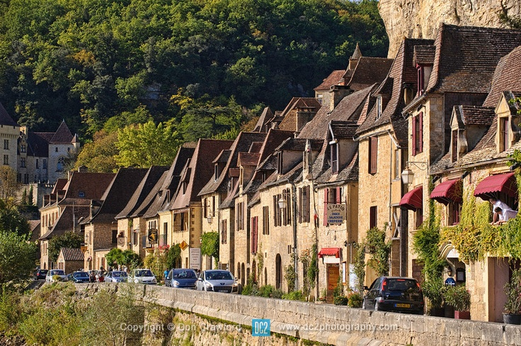 The riverside town of La Roque-Gageac France, voted one of Frances most beautiful towns.