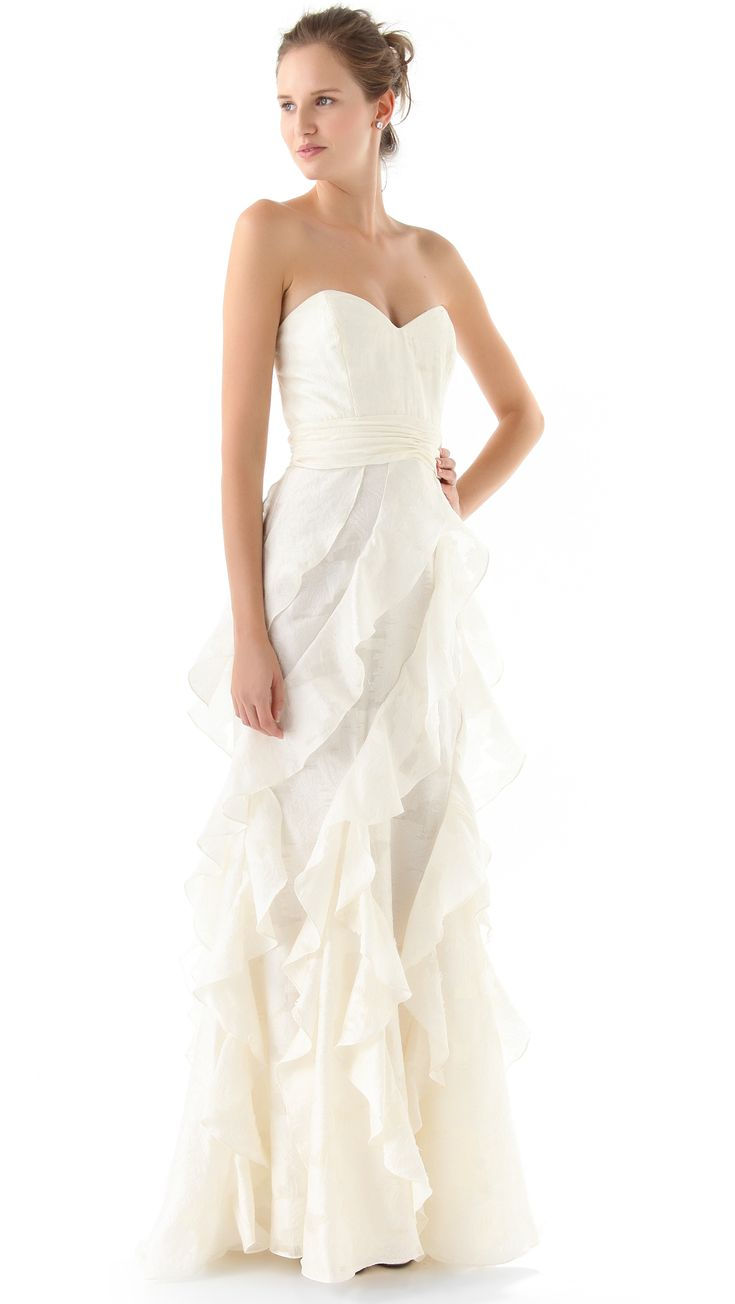 Awesome Badgley Mischka Collection Strapless Gown With Ruffle Ivory