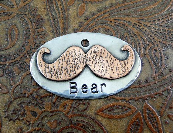 Personalized Mustache Dog ID Tag. Our mixed metal handcrafted pet collar ID tags are nothing like the generic tags found in most pet stores.