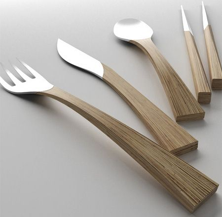 Natural Cutlery Belgian designer Nedda El-Asmar has came up with this beautiful cutlery set, inspired by the oval shape of Japanese tea plant leaf