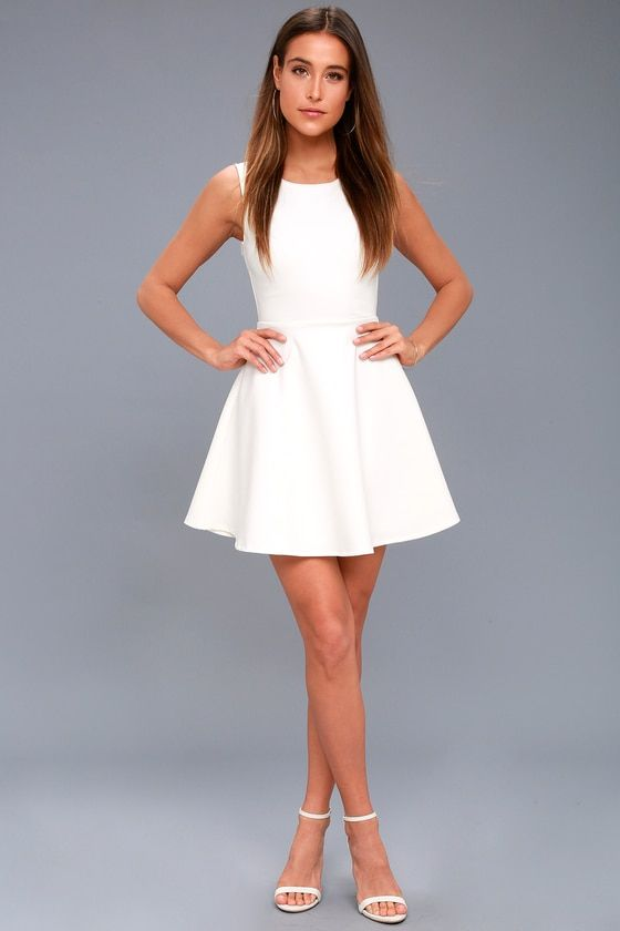 fc0901c276 Need You Close White Lace Backless Skater Dress 2