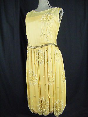 Vtg 20s Yellow Chiffon Silk Flapper Layers Dress w/ Floral Beaded-Bust 34/XS