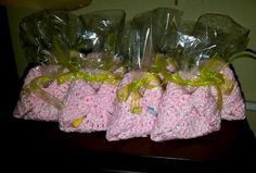 crochet baby shower favors | Crocheted Diaper Bag Baby Shower Favors