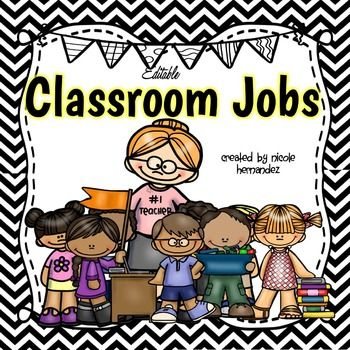 Classroom Jobs - {EDITABLE Black and White  Chevron Themed}