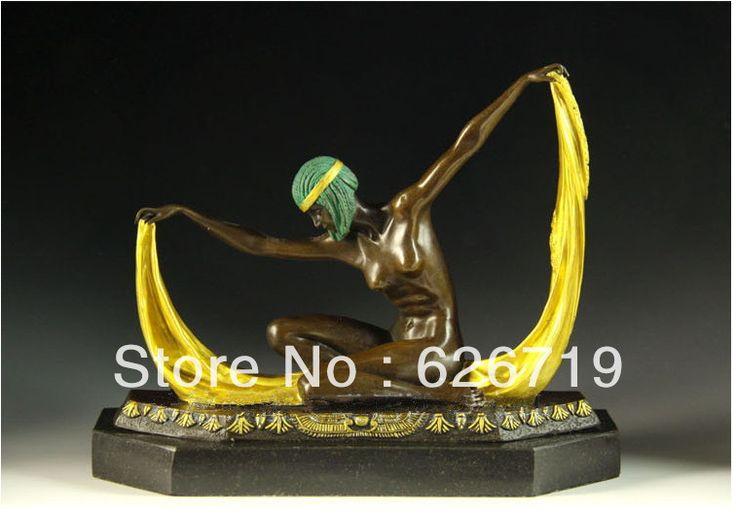 Western art статуя ан бронзовой Танцовщицы Голая Секси Леди Бронзовая Скульптура украшения дома czs-132c