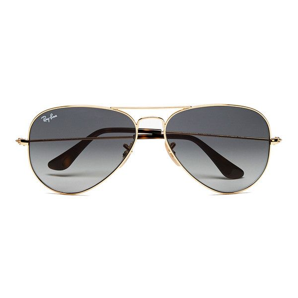 Ray-Ban Men's Large Aviator Sunglasses - Metal Gold ($195) ❤ liked on Polyvore featuring men's fashion, men's accessories, men's eyewear and men's sunglasses