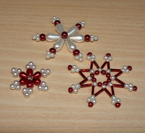 Beaded Snowflake red and pearl