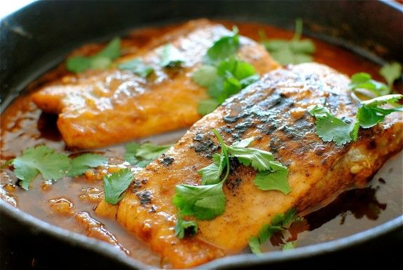 Salmon in a Spicy Garlic Tomato Sauce