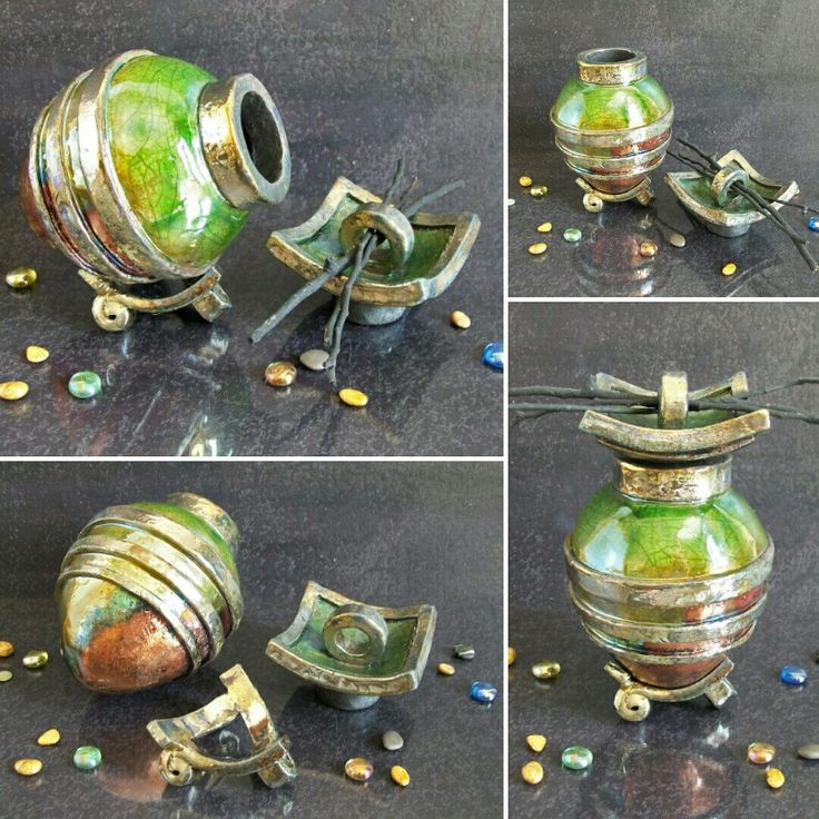 Raku pottery green copper cremation urn for pet or human ashes